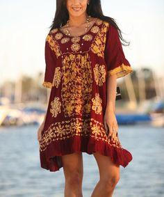 Look at this #zulilyfind! Burgundy & Gold Embroidered Tie-Dye Shift Dress #zulilyfinds