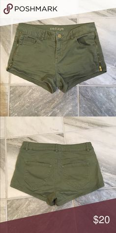 Shorts w/ Gold Zip Detail Army Green Shorts with Gold Zipper Detail on Each Side Shorts Jean Shorts