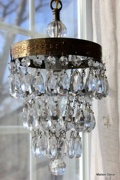 Love this sparkly vintage crystal waterfall pendant light