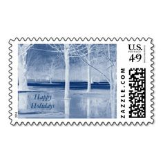 Happy Holidays Blue Ice United States Postage Stamp Design by Janz