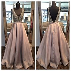 Deep V-Neck A-Line Long Prom Dresses,Beading Evening Dress Prom Gowns,Backless Formal Women Dress
