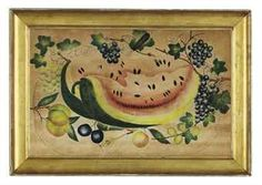Artist Unknown. A Theorem Picture, Still Life with Wedges of Watermelon. American School, c. 1830. Watercolor on velvet,   13½ x 20½ in.
