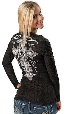 Affliction® Women's Black and Grey Python with White Screen Print with Studs V-Neck Long Sleeve Tee | Cavender's