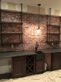 35 Awesome Exposed Brick Walls Design Ideas - The type and condition of the brick will play a big part in deciding how to decorate the room. In some cases, if the brick wall is not in the best con. Exposed Brick Kitchen, Brick Wall Kitchen, Exposed Brick Walls, Basement Kitchen, Basement Walls, Kitchen Decor, Basement Bathroom, Kitchens With Brick Walls, Open Basement