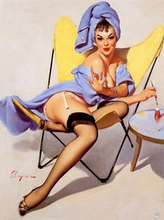 "Free US shipping Handprinted Cotton Art Reprodn Applique Vintage Sexy Pin-up Girl Gil Elvgren ""The finishing touch"", 1960"