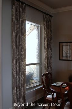 Gray & Ivory Damask Dining Room Window Treatments | Beyond the Screen Door