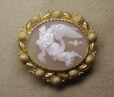Victorian Carved Shell (Cassia Rufa) Cameo Brooch Mounted In Gold - Italian, Probably Naples   c. Mid 19th Century