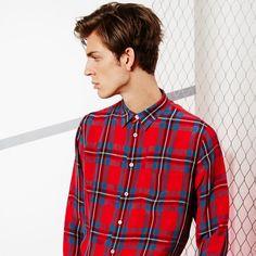Paul Smith Men's Red Tartan-Check Shirt Model