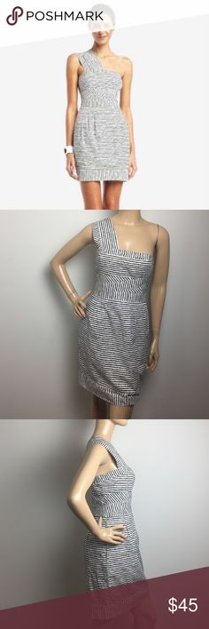 """BCBGMAXARIA One-Shoulder Striped Poplin Dress With a chic silhouette and modern stripes, this poplin dress makes a timeless and distinctive statement at daytime outings. Asymmetrical neckline. Wide strap over right shoulder.Striped patterns throughout. Pleats and slash pockets at skirt. Center back zipper with hook-and-eye closure ALL MEASUREMENTS ARE TAKEN WITH GARMENT LYING FLAT: BUST: 16"""" WAIST: 17.5"""" LENGHT: 35"""" BCBGMaxAzria Dresses Mini"""