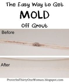 The Easy Way to Get Mold Off Grout So.I have this embarrassing problem. The grout in one of our bathrooms is perpetually moldy. It's not for lack of trying to clean it, thou. Cleaning Mold, Deep Cleaning Tips, Household Cleaning Tips, Toilet Cleaning, Cleaning Recipes, House Cleaning Tips, Diy Cleaning Products, Cleaning Solutions, Spring Cleaning