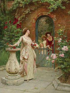 monsieurleprince:    Leonard Charles Nightingale (active 1880 - 1904) - Midsummer roses