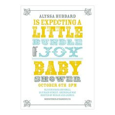 Create custom baby shower invitations that are full of style with this vintage poster look. The distressed block lettering, mixed fonts and ornate corner details give it that vintage style.