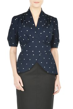 A surplice cross-over neckline and front-split peplums create soft lines on our cotton poplin top patterned with embellished polka dots for retro charm.