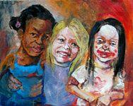 "Besties 16""x20"" acrylic on canvas board"
