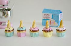 Play Scale Cupcakes for Blythe Doll or your Miniature 1:6 Collection    You will receive 5 Sweet Petite Ice Cream Cone Cupcakes assorted flavors all with hot fudge and sprinkles and a cone on top :-) Fun addition to your Play Scale Miniature collection  Made from polymer clay   **** This listing is for the 5 Play Scale Ice Cream Cone Cupcakes only **** cake stand not included **** All other items shown in photos are props   ***** Not intended for small children  To view more of my 1:6 play…