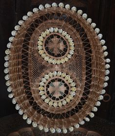Ethnic Tribal Indonesian woven textile, money cowery serving basket