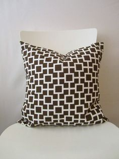 18 inch throw pillow cover, brown and white. Geometric squares pattern, modern print. For ruby sofa.