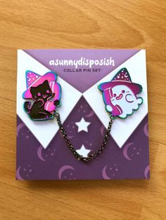 PREORDER Ghost & Cat Collar Pin Set | Etsy Witchy Outfit, Ghost Cat, Jacket Pins, Accesorios Casual, Cool Pins, Pin And Patches, Metal Pins, Kawaii Clothes, Cat Collars