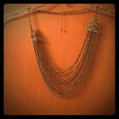 Loft layered necklace Long gold colored vintage inspired layered necklace made by Loft LOFT Jewelry Necklaces