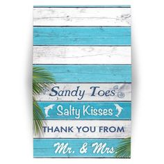 Blue and white stripes, dolphins and the cute saying, 'Sandy Toes Salty Kisses Thank You from Mr. & Mrs.' accents this fun Thank You Card, perfect for the beach, Caribbean, destination, seaside, poolside or nautical wedding.