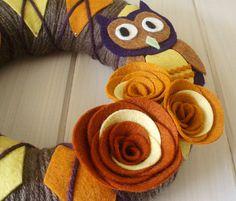 Yarn Wreath Felt Handmade Door Decoration  Argyle Owl by ItzFitz