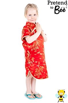 shop for Chinese National Dress Costumes for Children at Totally Fancy. Chinese New Year Dress Beautifully embroidered Red Satin dress with Authentic design Great quality made to last costume from Pretend to Bee. EN71Safety Tested
