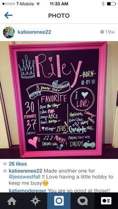 3rd birthday chalkboard frame/sign. Princess. Pink. Www.etsy.com/shop/charmingchalk