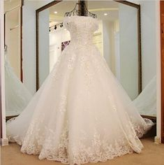 New Luxury White Lace Flower Crystal Beading A-line