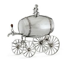 A GEORGE III SILVER JOLLY WAGON MARK OF WILLIAM BURWASH, LONDON, 1807 Modelled as a wine barrel set on four wagon wheels, the tap with wood baluster finial, the barrel with detachable putti finial, marked on barrel body, each wheel, and frame