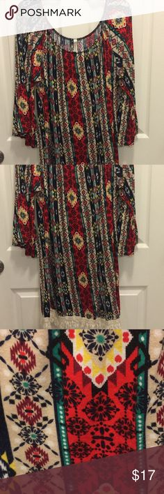 EUC!! Aztec print, fringe bottom tunic! Excellent, used condition!!!!!, Aztec print, fringe trim tunic! Gorgeous!! This is a size 3X but fits more like a 14/16. Cezanne Tops Tunics