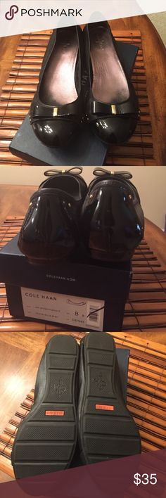 Patent leather shoes Mint condition black patent leather flats with bow. Cole Haan Shoes Flats & Loafers