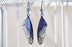 """Fairy wings fairy wings earrings """"Fairy"""" purple glitter niobium ear hook"""