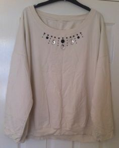New - Womens New Look Cream Plus Size Embellished Neckline Jumper Size 24 - £10