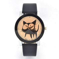 2016 New Lovely Ladies Watches Girl Dress Big Eyes Black Cat Fashion Watch Women Clock Children Cartoon Watch crystal designer - gemdivine