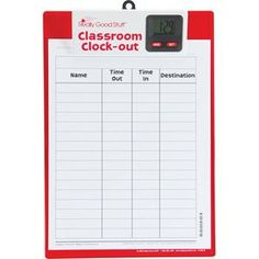 Really Good Stuff Classroom Clock-Out Clipboard – Keep Track of Students with Sign-Out/Sign-in Sheet and Digital Clock – Durable Clipboard with Easy-to-Read Clock, x Daycare Setup, Daycare Organization, Classroom Clock, Classroom Setup, Sign Out Sheet, Childcare Environments, Teaching Clock, Home Childcare, Family Child Care