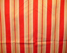 """Vintage French Ticking / Upholstery Fabric Bright Red, Cream, Light to Dark Tans or Beige Stripes  43"""" by 144"""" or 4 Yds MPY 045"""