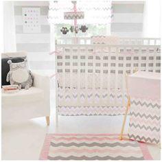 My Baby Sam Chevron 3-Piece Crib Bedding Set, Pink/Gray