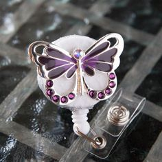 Butterfly Silver Glitter reel retractable ID badge holder