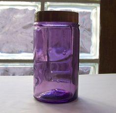 Antique Purple Glass  Apothecary Jar Vanity Jar by CynthiasAttic