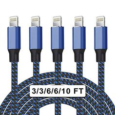 #UNEN 5Pack Nylon Braided Lightning Cable for #iPhone