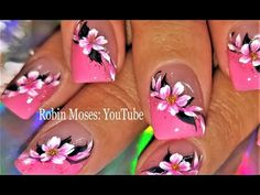 Spring Nails 2018 Tutorial - Pink flower nails up NEW today on my channel! brushes worldwide at www. Daisy Nail Art, Floral Nail Art, Pink Nail Art, Nail Art Diy, Daisy Nails, Pink Art, Flower Nail Designs, Simple Nail Art Designs, Best Nail Art Designs