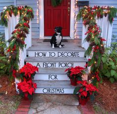 When decorating for Christmas, your front porch is one of the first things your guest will see.  It should be beautiful and festive and provide a glimpse of what they will find inside your home.  Here are the steps for how to decorate a front porch for Christmas.