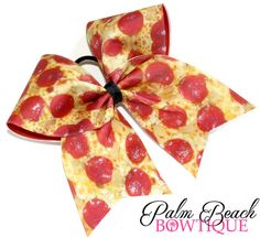 Pizza Cheer Bow or Softball Bow Softball Bows, Cheer Bows, Cheerleading, Softball Clothes, Big Bows, Hair Barrettes, Give It To Me, Pizza, Palm Beach