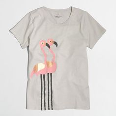 J.Crew Factory flamingo collector T-shirt ($26) ❤ liked on Polyvore featuring tops, t-shirts, j crew tops, cotton tee, loose fit t shirts, loose t shirt and j crew t shirts