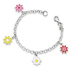 Kid's Sterling Silver Colorful Flowers Charm Bracelet Available Exclusively at Gemologica.com