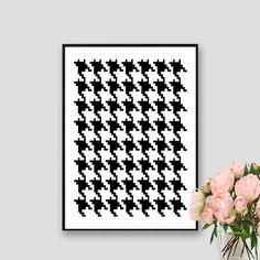 Houndstooth Print Pied de Poule Pattern Instant by AskPrintables