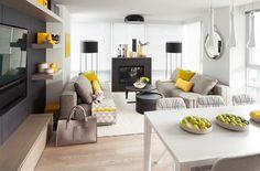 Wohnzimmer Farbgestaltung - Grau und Gelb als Farbkombination ...