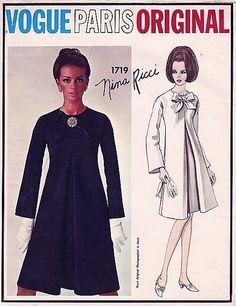 RARE Vogue Paris Original Design Nina Ricci 1719 1960s 60s Bow Mod Cocktail Dress Vintage Sewing Pattern Size 14 Bust 34