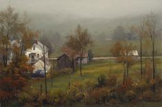New England Morning - John Pototschnik Fine Art Paintings I Love, Beautiful Paintings, Oil Paintings, Original Paintings, Autumn Art, Autumn Trees, Landscape Art, Landscape Paintings, Landscapes