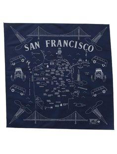 san francisco map tote bandana